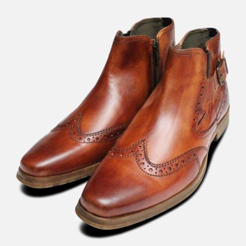 Antique Tan Boots Demi En Bugatti Regent Chaussures Par ZiPkXTuO