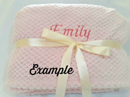"""Personalized Navy Blue  Minky Baby Blanket 32/"""" x 35/"""" Baby Shower Gift"""