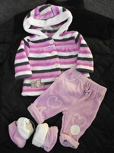 BNWT-Girls-Baby-Brand-Size-1-Cute-Fuzzy-Hoodie-Jacket-Pants-amp-Slippers-Set