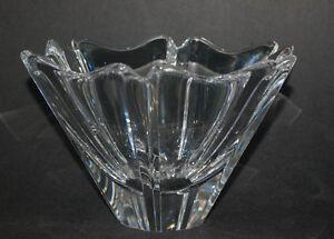Orrefors-Orion-Crystal-Bowl-Lars-Hellsten-designer-Sweden-Signed-Clear-Glass
