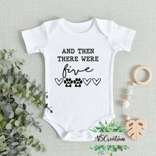 And then there were 5 five// Pregnancy announcement bodysuit// Baby reveal romper//