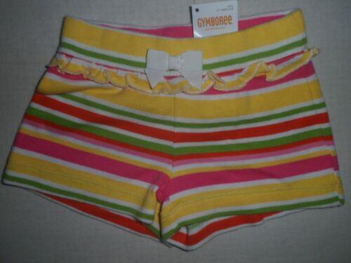 Gymboree ISLAND LILY Pink Green Yellow White Orange Striped Ruffle Shorts NWT
