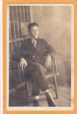 Real Photo Postcard RPPC - Young Prison Guard in Front of Jail Cell