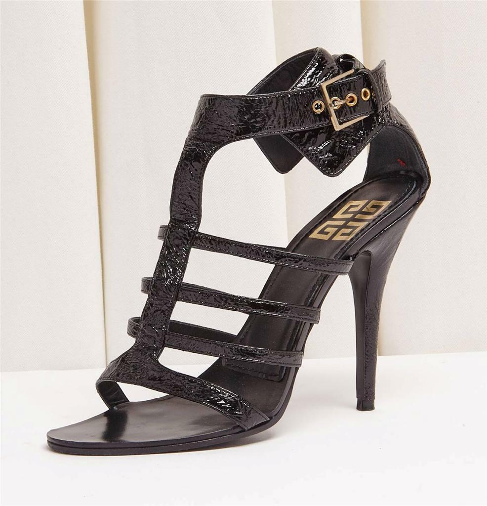 GIVENCHY Black Patent Leather Ankle Buckle Strappy High Heel Pump Sandal 8-38