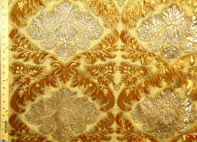 """Gold Baroque Jacquard Velvet 53"""" 100% Polyester By The Yard"""
