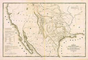 1844 Texas Republic Old Map Atlas Poster Early History State First - Old-map-of-us