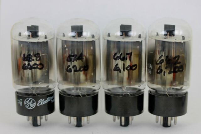 GE 7581A KT-66 UPGRADES 6L6GC MATCHED QUAD 102% mA/V CLEAN-POWER TUBES NOS  1969