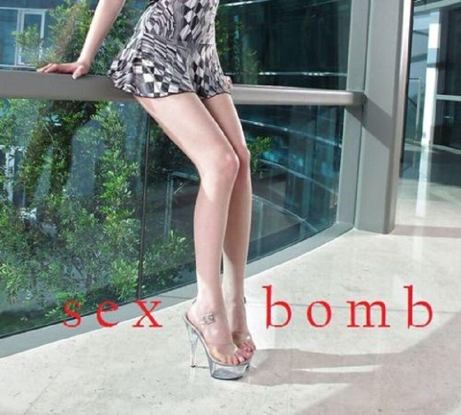 Sexig genomskinlig plattform Strap Sandals Heel 15 15 15 från 35 till 44 Fassmour  Alla varor är specialerbjudanden