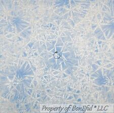 BonEful Fabric FQ Cotton Quilt Blue White Snowflake Silver Metallic Xmas Frozen