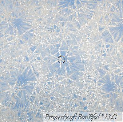 Fat Quarter Blue Metallic Silver Snowflakes Cotton Quilting