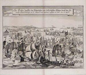 Antique-map-See-treffen-zwischen-den-Schwedischen-und-Hollandischen-Flootten