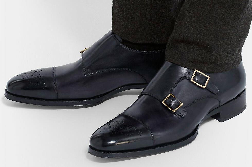 Mens Handmade scarpe  nero Double Monk Brogue Formal Wear Casual Dress stivali New  servizio onesto