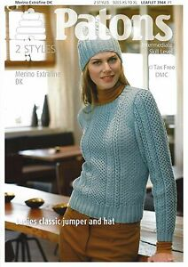Vat Free Knitting Pattern Only Patons Dk Ladies Classic Jumper Hat