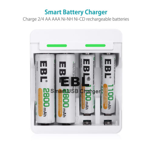 EBL Universal USB Charger For AA AAA NiMH NiCD Rechargeable Battery 4-slots