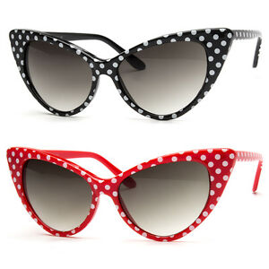 2607a128b180f Retro Vintage Style Polka Dot Design Retro Cat Eye Sunglasses ...