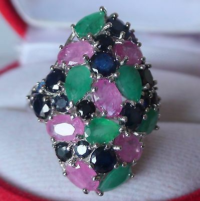 NATURAL! RUBY,EMERALD,SAPPHIRE 35.10 ct RING,Fine Estate Jewelry.SIZE 7.25