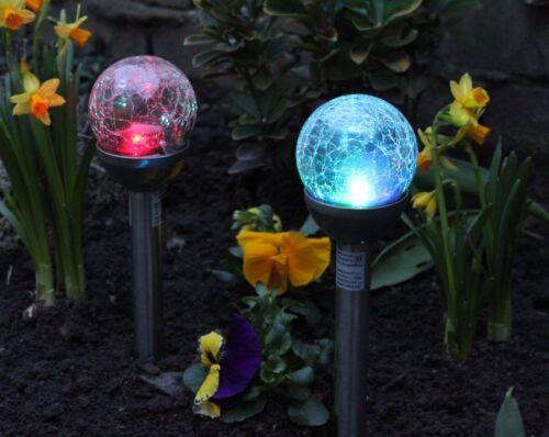 2x Solarleuchte LED Farbwechsel weiß Solar Glas Kristall Solarlampe Solarkugel