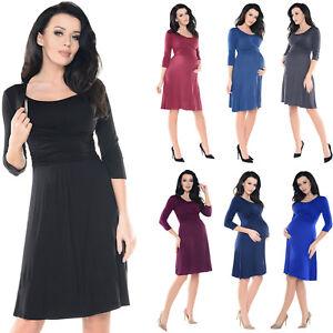 3868c0b93cb1e Purpless Maternity 2 in 1 Pregnancy & Nursing 3/4 Sleeved Skater ...