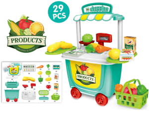 Bambini 29 Pezzi Supermercato & Ruolo Gioco Cibo & Verdure Giocattolo Negozio