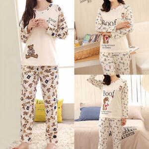 Women-Girls-Lady-Cotton-Sleepwear-Long-Sleeve-Pajamas-Sets-Cartoon-Printing-Suit