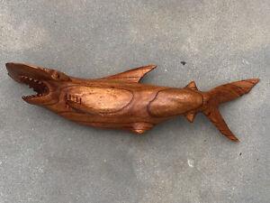 HAMMER HEAD SHARK WALL HAND CARVED WOOD ART HOME DECOR FISH TIKI BAR SALTWATER