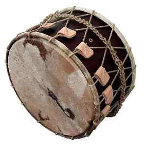 Davul-Mittelalter-Trommel-Medieval-Basedrum-20-5-034-x-12-5-034-Dark-Brown-B-WARE