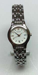 Pulsar Ladies Silver Tone Watch Model V501-X280 w/white face