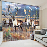 3d Animals Lawn Blockout Photo Curtain Printing Curtains Drapes Fabric Window Au