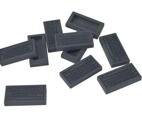 Lego X10 Dark Bluish Gray Tile 1x2 With PC Computer Keyboard Pattern Bulk Lot