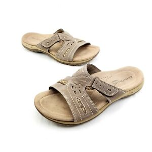 Earth-Origins-By-Earth-Sizzle-Sandals-Brown-Leather-Adjustable-Strap-Women-039-s-7-M
