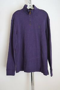 POLO-Ralph-Lauren-Purple-ribbed-cotton-1-4-Zip-Mock-pullover-sweater-L