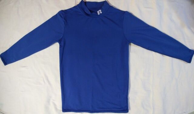 Russell Boys Blue Long Sleeve Baseball Compression Top Size YLG Large