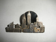 Vintage Sterling Silver Brooch Pin by Great Falls Metal Works GFMW NYC Skyline