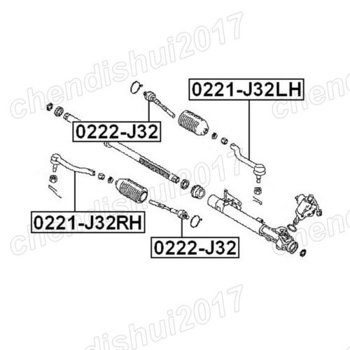 2x 0221-J32LH//RH Steering Tie Rod End LH /& RH For 08-13 Nissan Teana J32 Altima