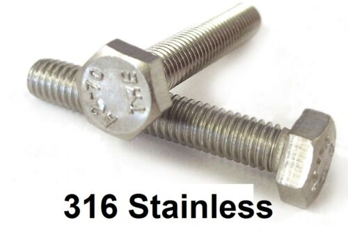 Qty 500 Hex Set Screw M6 6mm x 55mm Marine Stainless Steel SS 316 A4 70 Bolt