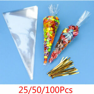 Large-Clear-Cellophane-Cone-Bags-Twist-Ties-party-candy-sweet-cello