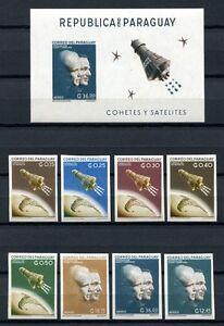Paraguay-1962-Space-Raumfahrt-1095-1102-Block-27-Ungezaehnt-Postfrisch-MNH