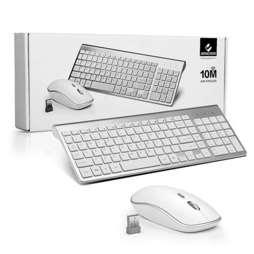 Wireless Keyboard And Mouse Combo Set 2.4G For Mac Apple Pc Full Size Slim Silve
