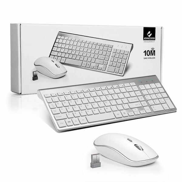 full size slim wireless keyboard and compact mouse combo set for mac apple pc ebay. Black Bedroom Furniture Sets. Home Design Ideas