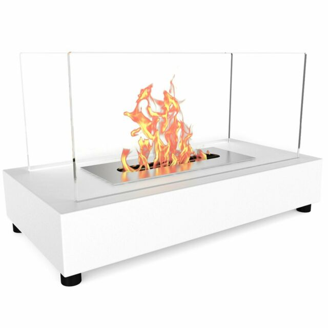 Amarillo Tunell Modern White Standing Bio Ethanol Fire Indoor Fireplace For Sale Online Ebay