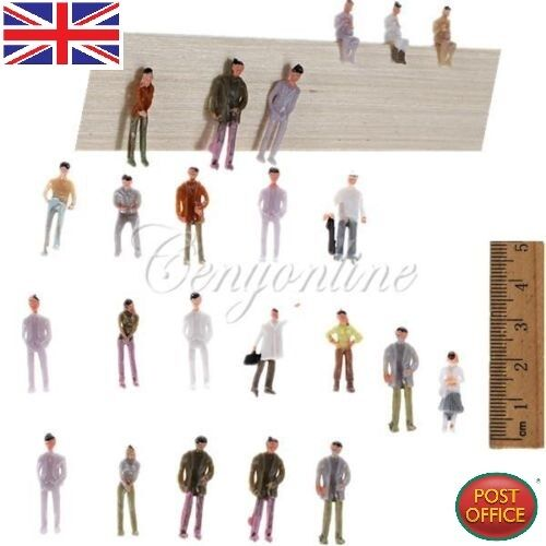 100 PCS 00 Gauge Model Railway Painted Train Street Figures People Scale 175