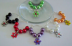 SET-OF-6-WINE-GLASS-RINGS-CHARMS-WITH-ENAMELLED-TIBETAN-SILVER-FLOWERS