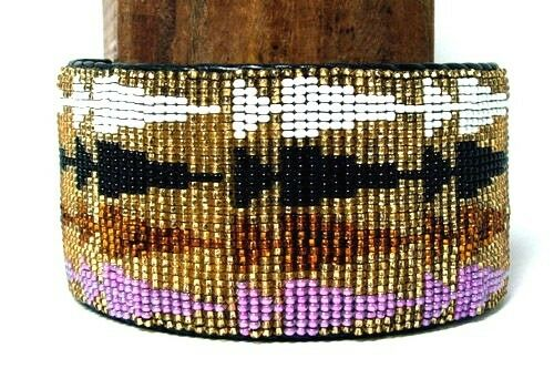 "Beaded Cuff Bracelet  2"" W x 8"" L Leather Backed Adjustable FREE SHIPPING #15"