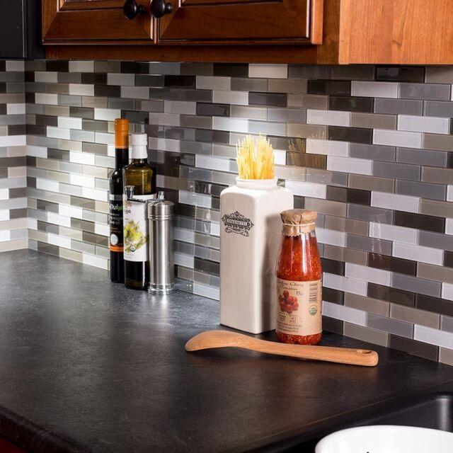 Peel And Stick Tile Self Adhesive Glass Wall Kitchen Backsplash Grey Brown  White
