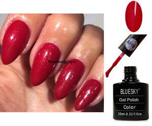 BLUESKY-GEL-POLISH-RED-PINK-GOLD-SHIMMER-A15-NAIL-LED-UV-SOAK-OFF-LIMITED-SALE