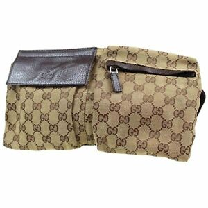 60b4f845c1b4 GUCCI GG Canvas Fanny Pack Waist Pouch Bag Brown Italy Vintage ...