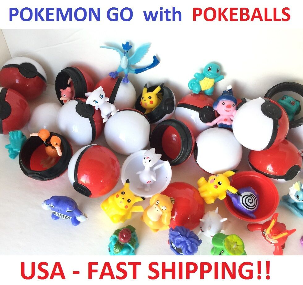 20 Pokemon Go Pokeball Balls + 20 Figures Cake Toppers Party Favor Toy  40 TOTAL