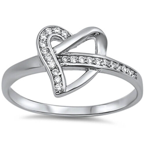 Heart Promise Love Ring Cubic Zirconia .925 Sterling Silver Ring Sizes 4-11