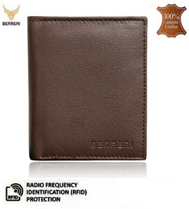 Mens 100% Genuine Leather Wallet RFID Card Holder Brown & Blue Gift Box UK Stock