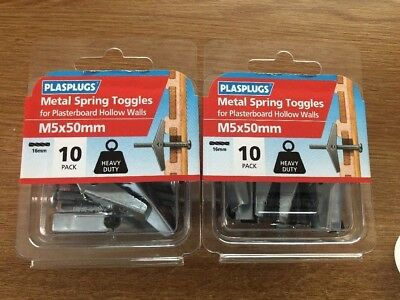 10 Pack Spring Toggles M6 x 50mm